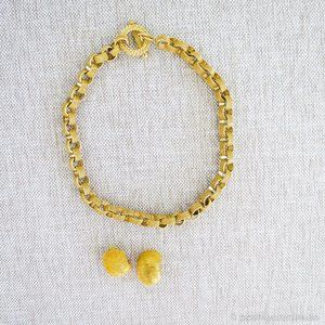 Vintage 1990s Gold Necklace + Earrings (Nautical)